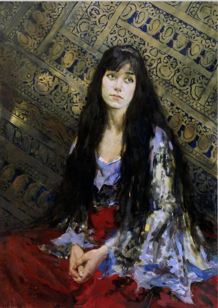 Vitaly Grafov. Portrait of a Girl on the Carpet Background.